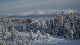 AK0001_1882 - 4K stock footage aerial video fly over snowy, wooded shore, reveal islands, Hummer Bay, Port Wells, Alaska