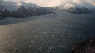 AK0001_1904 - 4K stock footage aerial video windblown water of Passage Canal, Alaska