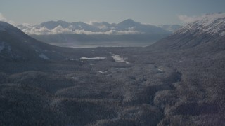 AK0001_1957 - 4K stock footage aerial video fly over wooded valley between snowy Chugach Mountains, Girdwood, Alaska