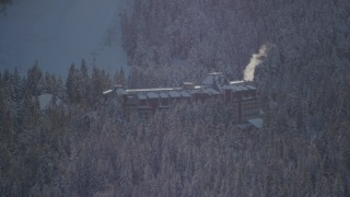 AK0001_1959 - 4K stock footage aerial video the Alyeska Resort in snow in Girdwood, Alaska