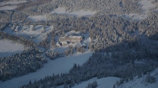 AK0001_1965 - 4K stock footage aerial video Alyeska Resort, pan to snowy mountain, ski lodge, Girdwood, Alaska