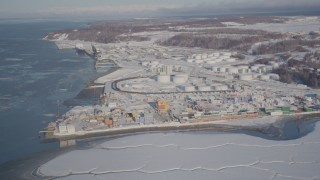 AK0001_2015 - 4K stock footage aerial video a snow covered oil refinery next to the Port of Anchorage, Alaska