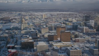 AK0001_2022 - 4K stock footage aerial video snow covered Downtown Anchorage, Alaska
