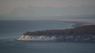 AK0001_2032 - 4K stock footage aerial video a snowy Point MacKenzie peninsula, Alaska