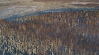 AK0001_2061 - 4K stock footage aerial video fly over snowy forest, frozen ground in Knik-Fairview at sunset, Alaska