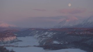AK0001_2099 - 4K stock footage aerial video snowy Matanuska River Valley homes, Chugach Mountains, Palmer, Alaska, twilight
