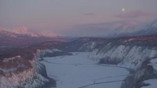 AK0001_2100 - 4K stock footage aerial video snowy Matanuska River Valley, Chugach Mountains, Anchorage, Alaska, twilight
