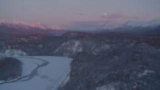 AK0001_2102 - 4K stock footage aerial video snowy Matanuska River Valley, Chugach Mountains, Anchorage, Alaska, twilight