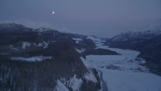 AK0001_2119 - 4K stock footage aerial video snowy Matanuska River Valley, Talkeetna Mountains, Sutton, Alaska, twilight