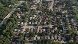 AX0001_001 - 5K stock footage aerial video flying over residential neighborhoods in Calumet City, Illinois