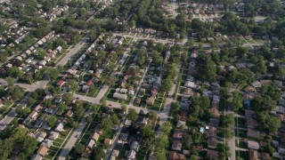 AX0001_002 - 5K stock footage aerial video flying over residential neighborhoods in Calumet City, Illinois