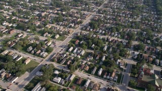 AX0001_005 - 5K stock footage aerial video flying over residential neighborhoods in Calumet City, Illinois