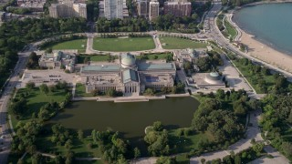 AX0001_009 - 5K stock footage aerial video Orbiting the Museum of Science and Industry, Hyde Park, Chicago, Illinois