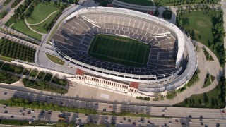 AX0001_022 - 5K stock footage aerial video bird's eye view of Soldier Field, Chicago, Illinois