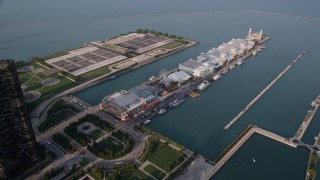 AX0001_121 - 5K stock footage aerial video of The Navy Pier in Lake Michigan, Chicago, Illinois