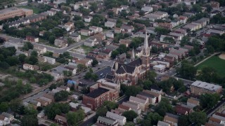 AX0001_160 - 5K stock footage aerial video approaching St. Michael Catholic Church, Chicago, Illinois