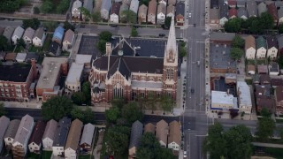 AX0001_161 - 5K stock footage aerial video flying by St. Michael Catholic Church, Chicago, Illinois
