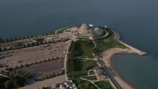 AX0002_085 - 5K stock footage aerial video of an orbit of the Adler Planetarium and Astronomy Museum,  Chicago, Illinois