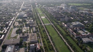 AX0002_097 - 5K stock footage aerial video of flying by the University of Chicago and Midway Plaisance Park, on a hazy day, Illinois