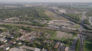 AX0002_102 - 5K stock footage aerial video of flying over residential neighborhoods by S Stony Island Avenue, Calumet Heights, Chicago, Illinois