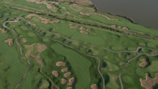 AX0002_103 - 5K stock footage aerial video of flying over Harborside Golf Course in Pullman, Chicago, Illinois