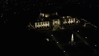 AX0004_017 - Aerial stock footage of Orbiting East Side of Griffith Observatory at Night