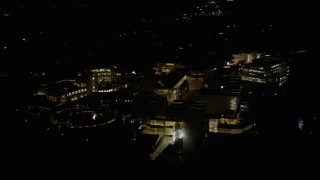 AX0004_100 - Aerial stock footage of Orbit of the J. Paul Getty Museum at Night