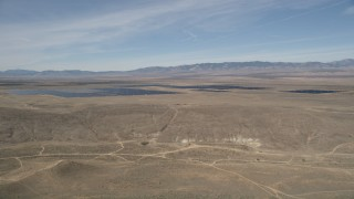 AX0005_072 - 5K stock footage aerial video orbit Antelope Valley Desert Solar Array in California