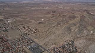 AX0006_100 - 5K stock footage aerial video desert residential neighborhoods in Rosamond, California