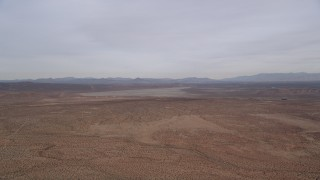 AX0006_122 - 5K stock footage aerial video of VFX Background Plate of open desert and dry lake, Mojave Desert, California