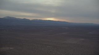 AX0007_017 - 5K stock footage aerial video of Mojave Desert background at Sunset VFX Plate, California