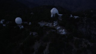 AX0008_051 - 5K stock footage aerial video orbit of Mount Wilson Observatory at twilight in California