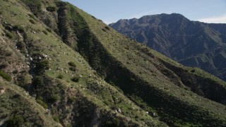 AX0009_007 - 5K stock footage aerial video fly over a slope and reveal green ridges in the San Gabriel Mountains, California