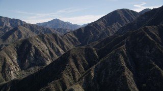 AX0009_011 - 5K stock footage aerial video of sharp mountain ridges in San Gabriel Mountains of California