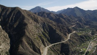 AX0009_013 - 5K stock footage aerial video of Big Tujunga Canyon Road in the San Gabriel Mountains, California