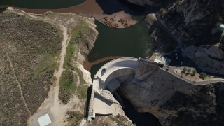 AX0009_017 - 5K stock footage aerial video bird's eye of Big Tujunga Dam and Reservoir in California