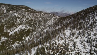 AX0009_120 - 5K stock footage aerial video fly over snowy mountain ridge with evergreen forest in winter, San Bernardino Mountains, California