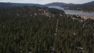 AX0010_004 - 5K stock footage aerial video fly over homes hidden by trees and tilt to reveal Big Bear Lake, California