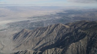 AX0010_123 - 5K stock footage aerial video of North Palm Springs seen from the San Jacinto Mountains, California