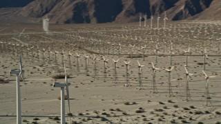 AX0013_008 - 5K stock footage aerial video of desert wind farm, San Gorgonio Pass Wind Farm, California