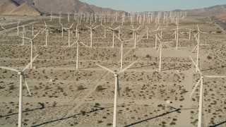 AX0013_009 - 5K stock footage aerial video of desert wind farm, San Gorgonio Pass Wind Farm, California