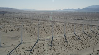 AX0013_026 - 5K stock footage aerial video fly over windmills, San Gorgonio Pass Wind Farm, California