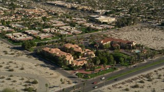 AX0013_040 - 5K stock footage aerial video of Extended Stay America, West Palm Springs, California