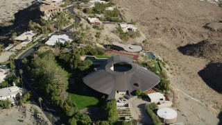 AX0013_051 - 5K stock footage aerial video of orbiting a hilltop mansion, West Palm Springs, California