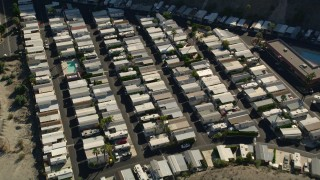AX0013_059 - 5K stock footage aerial video of a bird's eye of a mobile home park, Cathedral City, California