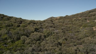 AX0014_010 - 5K aerial stock footage video fly over a ridge in the San Jacinto Mountains, California