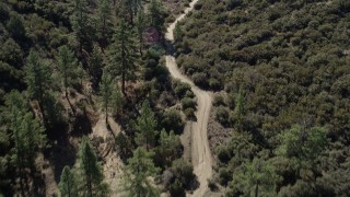 AX0014_013 - 5K stock footage aerial video following a dirt road bordered by trees, San Jacinto Mountains, California