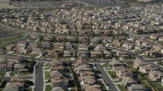 AX0014_040 - 5K stock footage aerial video fly over residential neighborhoods, Temecula, California