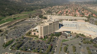 AX0014_042 - 5K stock footage aerial video of flying by Pechanga Resort and Casino, Temecula, California