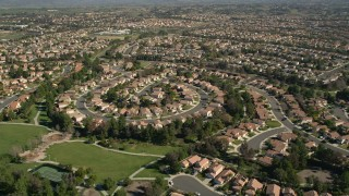 AX0014_052 - 5K stock footage aerial video of flying over residential neighborhoods, Temecula, California